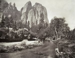 MUYBRIDGE: CATHEDRAL ROCKS. The Cathedral Rocks formation at Yosemite National Park in California. Photograph by Eadward Muybridge, c1870.