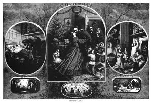 NAST: CHRISTMAS, 1863. Scenes of Christmas during the Civil War. Engraving by Thomas Nast