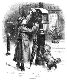 NAST: CHRISTMAS, 1879. 'The Christmas Post.' A boy mailing a letter to Santa Claus