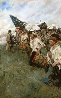 'The Nation Makers.' Depicts the Battle of Brandywine of 1777 during the Revolutionary War