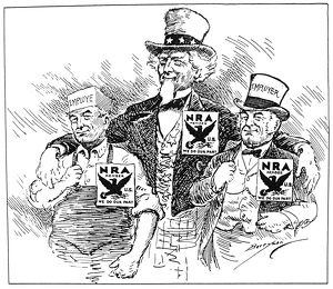 NATIONAL RECOVERY ACT, 1933. American cartoon by Clifford Berryman, 1933, showing
