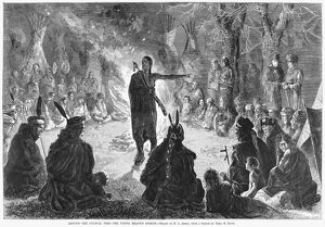 NATIVE AMERICAN COUNCIL. 'Around the council fire - the young brave's speech