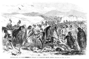 NATIVE AMERICAN RATIONS. Distribution of rations to Comanche Native Americans at