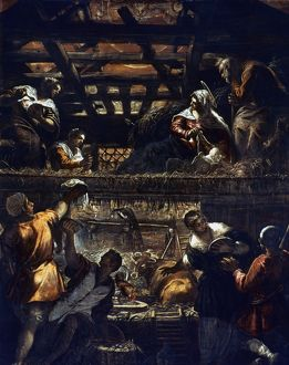 NATIVITY AND ADORATION. The Nativity and Adoration of the Shepherds. By Jacopo Tintoretto.