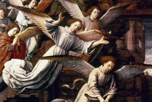 THE NATIVITY. Detail of Angels. Oil on wood by Gerard David (1484-1523).