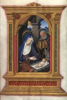 NATIVITY, FRENCH, c1510. Manuscript illumination from a French Book of Hours, c1510.