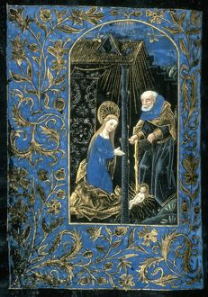 THE NATIVITY. Illumination from a Flemish Book of Hours, late 15th century