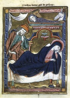 THE NATIVITY. Illumination from a French Book of Hours, c1230