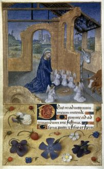 THE NATIVITY Illumination from a French or Flemish Book of Hours, c1480