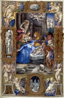 NATIVITY WITH SHEPHERDS. Illumination from a Roman Book of Hours, 1546.