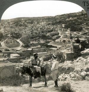 NAZARETH, PALESTINE, c1920. Birthplace of Jesus Christ; the open field, oval in shape