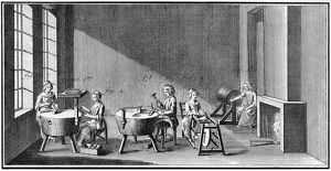 NEEDLEMAKING, 18TH CENTURY. Men and women workers making knitting needles