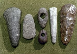 NEOLITHIC TOOLS. Neolithic stone and flint tools found in Essex, England, c2700-1800 B.C.