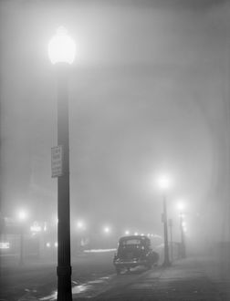 NEW BEDFORD, 1941. A foggy night in New Bedford, Massachusetts. Photograph by Jack Delano