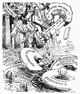 NEW DEAL CARTOON, c1933. 'How Much More Do We Need?' American cartoon comment