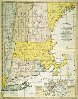 NEW ENGLAND MAP, c1775. /nEngraved map, c1775, of colonial New England