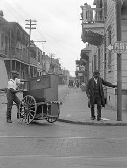 NEW ORLEANS, c1925. An organ grinder on the street in New Orleans, Louisiana