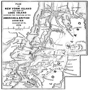 NEW YORK: ARMIES, 1776. Plan of the positions of the British and American armies in New York