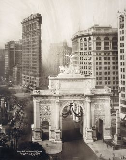 us cities/new york c1919 birds eye view victory arch
