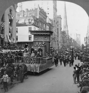 NEW YORK CITY: PARADE, c1909. A re-enactment of the 1735 trial of John Peter Zenger