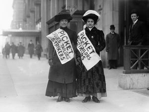 NEW YORK CITY: STRIKE, 1910. Two garment workers on a picket line during a garment