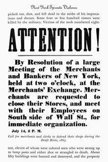 NEW YORK: DRAFT RIOTS. Broadside calling for merchants and clerks to defend their