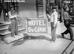 NEW YORK: HOBOS, 1915. Hobos holding the sign of Hotel de Gink in New York City