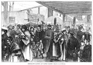 NEW YORK: IMMIGRANTS, 1880. European immigrants arriving at Castle Garden, New York City