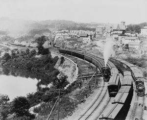 NEW YORK: LITTLE FALLS. Four New York Central Railroad trains passing through Little Falls