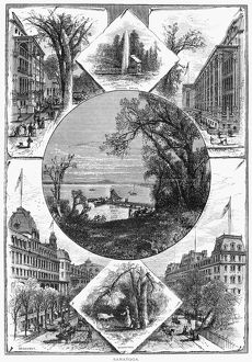 NEW YORK: SARATOGA, 1874. Views of Saratoga, New York. Engraving, 1874
