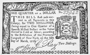 New York State two shilling paper bill, 1776