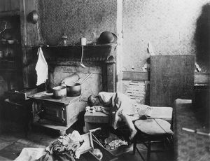 NEW YORK: TENEMENT LIFE. A tenement interior on the Lower East Side, 1896.