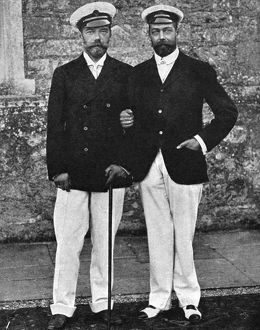 NICHOLAS II & GEORGE V, 1909. Tsar Nicholas II of Russia (left) with the Prince of Wales
