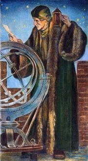 NICOLAUS COPERNICUS (1473-1543). Polish astronomer. Observing the skies at night