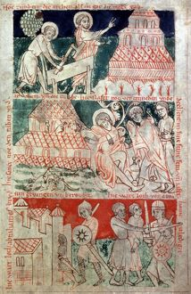 NOAH, EARLY 13th CENTURY. Noah and the Ark; drunkenness of Noah; Lot and Abraham
