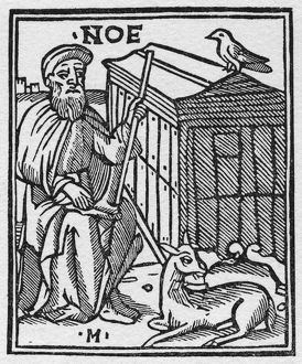 NOAH. Noah and the Ark. Woodcut from Giacomo Filippo Foresti's 'Supplementum