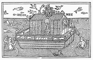 NOAH'S ARK UPON THE WATER. Woodcut from the Cologne Bible, 1478