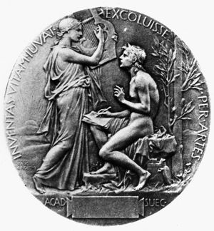 NOBEL PRIZE: LITERATURE. Reverse of the Nobel Prize medal for Literature, first awarded