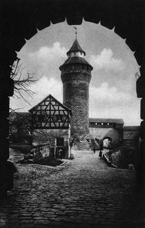 NUREMBERG CASTLE, c1920. Sinwell Tower at Nuremberg Castle, Bavaria, Germany. Photograph