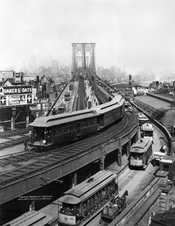 NY: BROOKLYN BRIDGE, 1898. Curve at the Brooklyn terminal of the bridge, 1898.