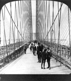 NY: BROOKLYN BRIDGE, 1901. Along the pedestrian promenade, 1901.