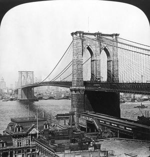 NY: BROOKLYN BRIDGE, 1901. View of the Brooklyn Bridge: from a stereograph, 1901.