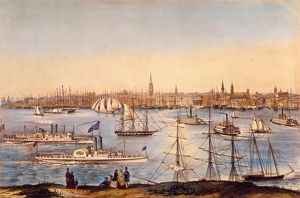 NY: BROOKLYN HEIGHTS, 1849. View of New York from Brooklyn Heights. Lithograph, 1849