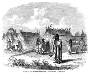 OBIBWA ENCAMPMENT, 1858. A camp of Ojibwa Native Americans near the falls of the