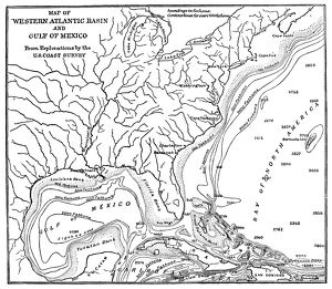 OCEAN DEPTHS, 1888. Map showing the depths of the Western Atlantic Basin and the