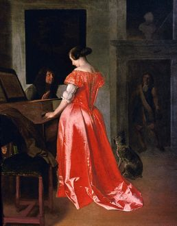 OCHTERVELT: HARPSICHORD. 'A Woman By a Harpsichord' by Jacob Ochtervelt