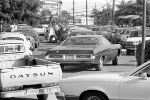 OIL CRISIS, 1979. Cars lined up for gas at a service station in Maryland at the time