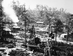 The oil field at Bull Run, a tributary of Oil Creek in Western Pennsylvania, 1863.