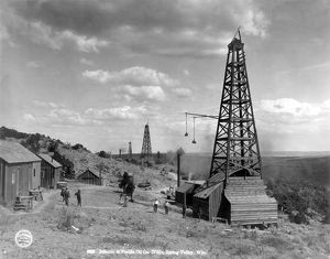 Oil wells in Spring Valley, Wyoming, c1910.