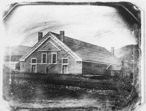 OLD TABERNACLE, 1852. The Old Mormon Tabernacle, built in Salt Lake City, Utah in 1851